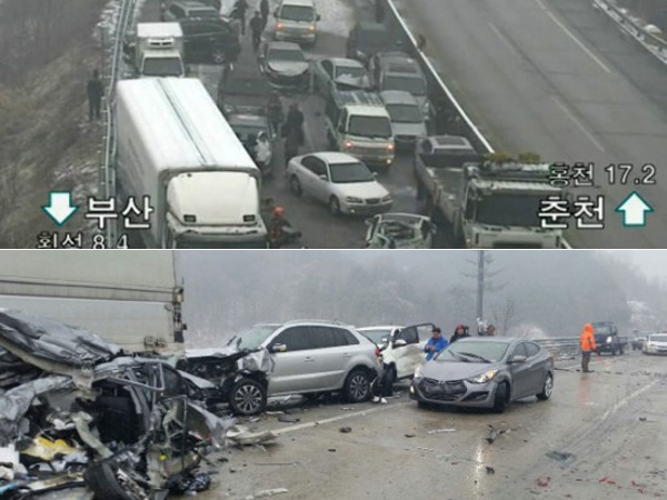 Sebuah Kecelakaan Beruntun Terjadi di Korea Selatan, Libatkan 43 Mobil Sekaligus