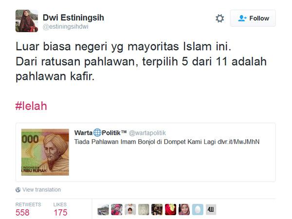 Nge-tweet Ada 'Pahlawan Kafir' di Uang Rupiah Baru, Wanita Ini Dilaporkan ke Polisi