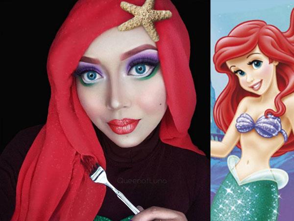 Kreatif, Wanita Berhijab Ini Jadi Celebgram Karena Make Up Mirip Disney Princess
