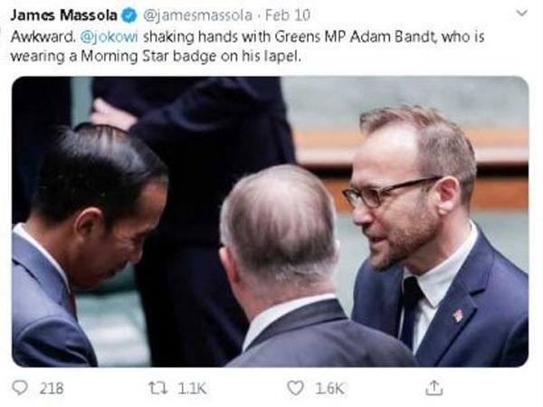 Begini Penjelasan 'Insiden' Jokowi Salami Politikus Australia Yang Pakai Pin Bendera Organisasi Papua Merdeka