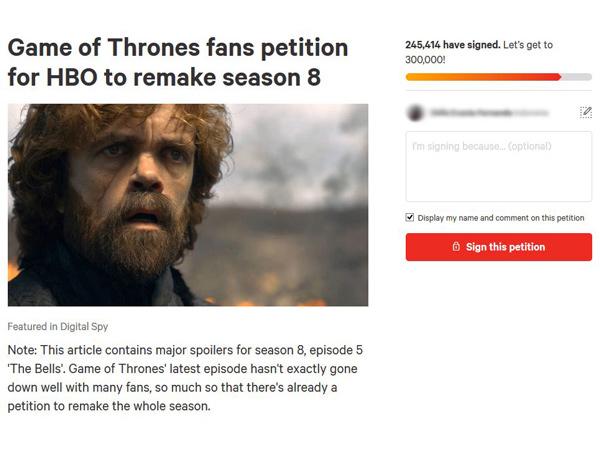 Fans Buat Petisi Agar Game of Thrones Season 8 Dibuat Ulang dengan Penulis Baru