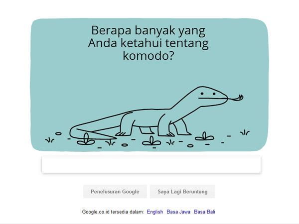 Google Doodle Rayakan Hari Jadi Taman Nasional Komodo dengan Kuis!