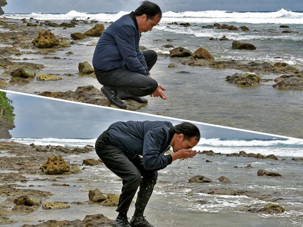 Kunjungan ke Laut Terdepan Indonesia, Foto Jokowi Cuci Muka Jadi Viral