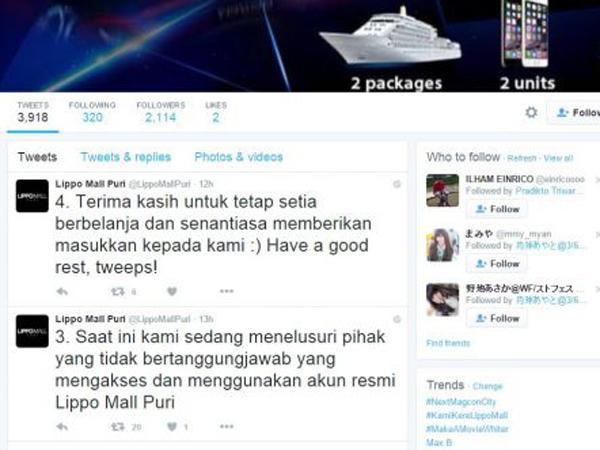 Balas Tweet Tak Pantas Ke Pengunjung, #KamiKereLippoMall Jadi Trending Topic