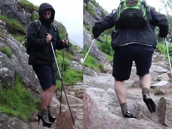 Pria Ini Nekat Pakai High Heels Saat Mendaki Gunung Tertinggi di Inggris, Apa Alasannya?
