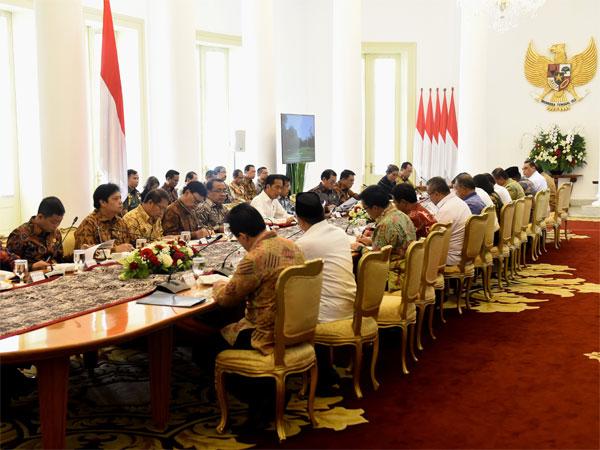Penampakan Rapat Terbatas Presiden Jokowi dan Para Menteri Via Video Conference