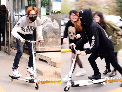 Serunya Mir dan G.O MBLAQ Naik Scooter Saat ke Studio 'Music Bank'