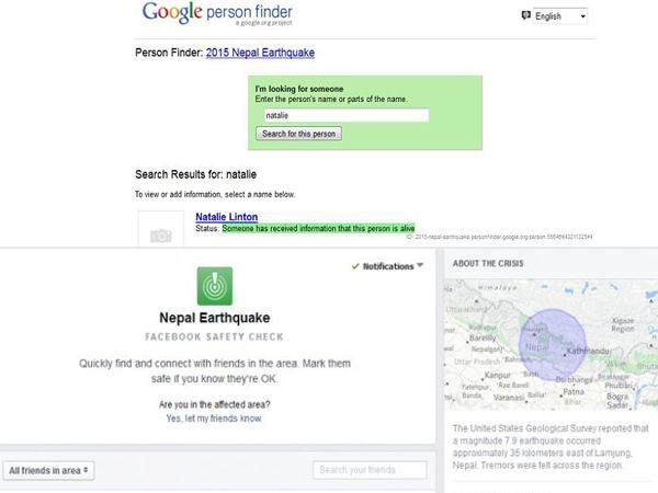 Google Dan Facebook Bantu Lacak Korban Gempa Nepal