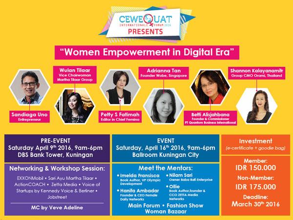 Yuk Cari Tau Potensi Diri di Era Digital Melalui 'CeweQuat Internationale Forum 2016'
