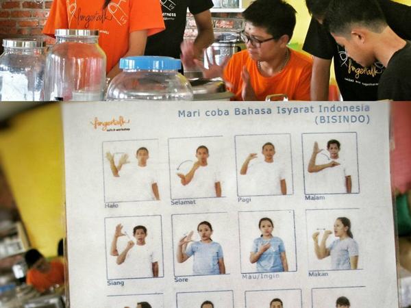 Uniknya Kafe Ini Tawarkan Makanan Murah Meriah Sambil Belajar Bahasa Isyarat