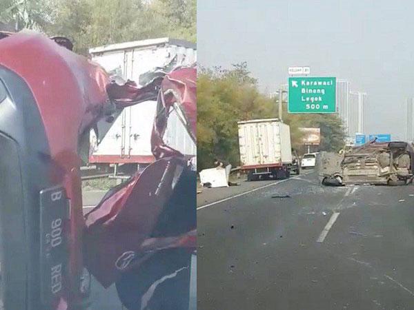 Kronologi dan Penampakan Mobil Mazda yang Ringsek di Kecelakaan Tol Tangerang