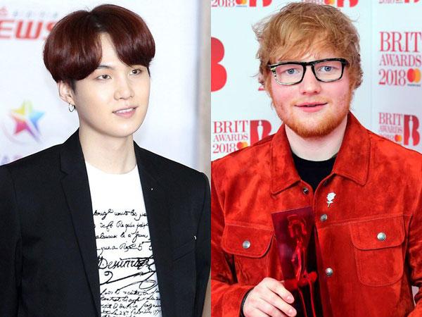 Bikin Fans Heboh, Suga Beri Tanda BTS Bakal Kolaborasi dengan Ed Sheeran?