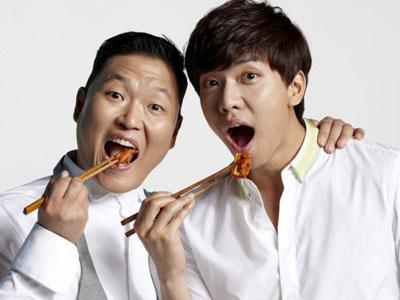 PSY Dampingi Lee Seung Gi untuk  Model Iklan Lemari Es