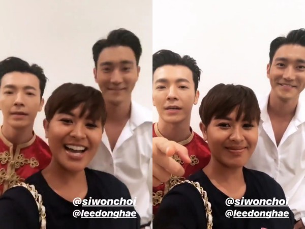 Dira Sugandi Unggah Video Bareng Siwon dan Donghae di Belakang Panggung Super Show