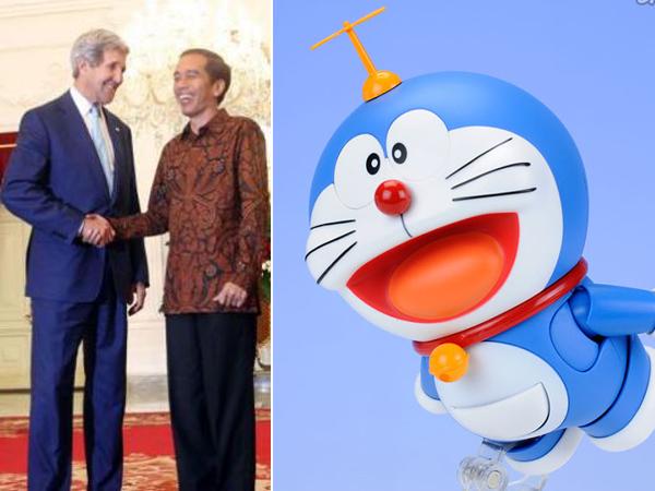 Wah, Pertemuan Presiden Jokowi dan Menlu AS John Kerry Juga 'Dihadiri' oleh Doraemon?