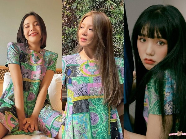 Beda Pesona Hyoyeon SNSD, Solar MAMAMOO, dan Mimi Oh My Girl Pakai Gaun Kembar
