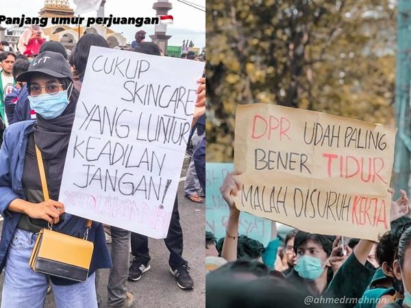 Kumpulan Banner Nyeleneh Mahasiswa dan Kpopers Saat Demo Omnibus Law