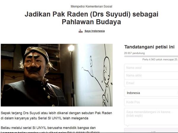 Usung Pahlawan Budaya Nasional, Petisi Pak Raden Ditandatangani 20.000 Orang