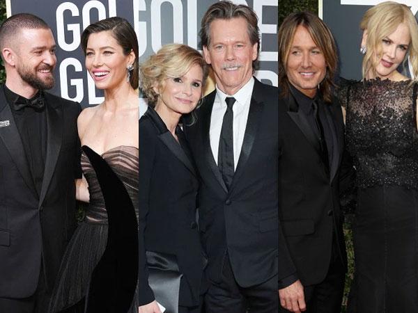 Pasangan Hollywood yang Sukses Menarik Perhatian di Red Carpet Golden Globes 2018