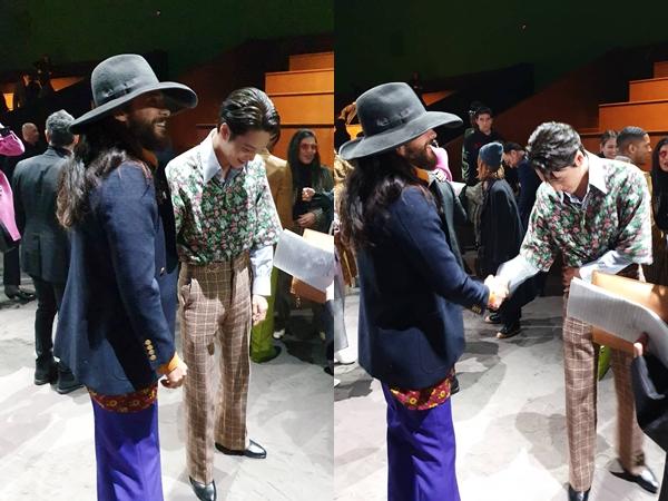 Kai EXO Dibuat Terkejut Saat Ketemu Jared Leto di Milan Fashion Week
