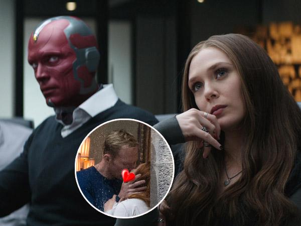 Tak Lagi Gunakan Kostum 'Aneh', Vision & Scarlet Witch Tak Cukup Ciuman Sekali di Set 'Avengers 3'!