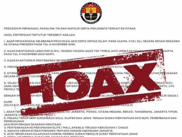 Jangan Terprovokasi, Ini Sederet Info 'Hoax' Terkait Demo 4 November