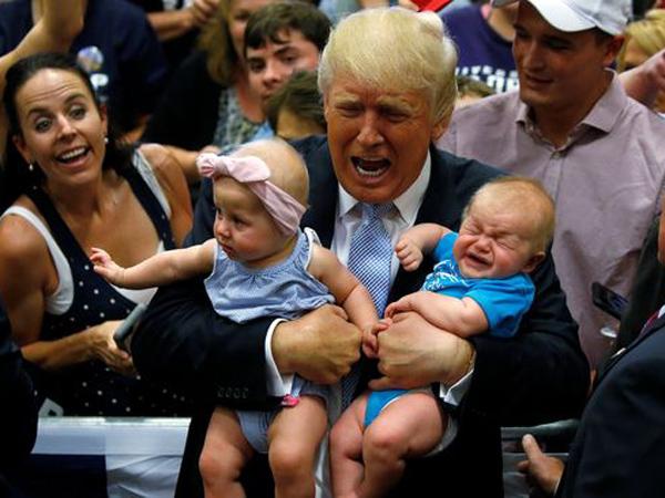 Berubah Pikiran, Donald Trump Usir Bayi Yang Menangis Saat Pidato Kampanye