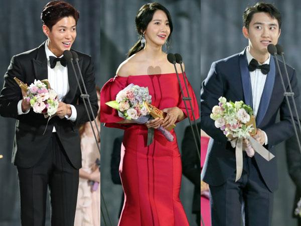 Aksi Kocak nan Kompak Park Bo Gum, YoonA, dan D.O di Panggung 'Baeksang Awards'