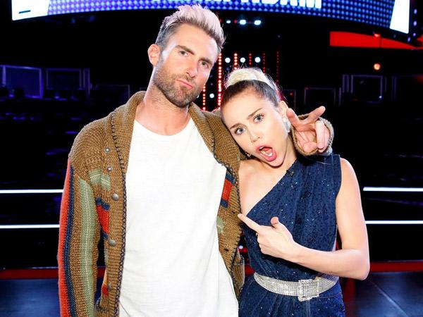 Sama-sama Jadi Mentor di The Voice, Adam Levine dan Miley Cyrus Bermusuhan?