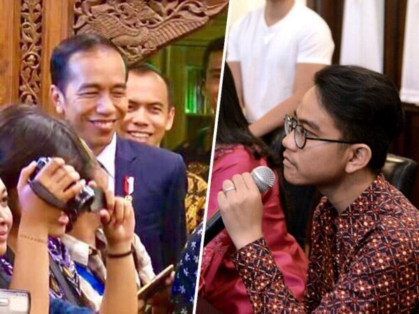 Kocaknya Aksi 'Nyempil' Jokowi Saat Pantau Anaknya Perdana Jadi Jubir Keluarga