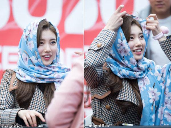 Hal Menarik Di Balik Kerudung Sakura Scarf yang Viral Dipakai Suzy di Acara Fansign