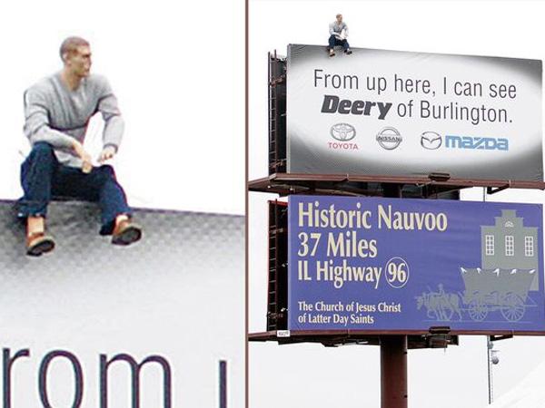 Duh, Manekin 'Bunuh Diri' di Atas Papan Billboard Ini Hebohkan Pengendara yang Lewat!