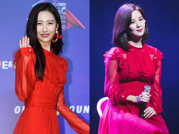Red Ruffle Dress Kembar Sunmi dan Seohyun SNSD, Who Wore It Better?