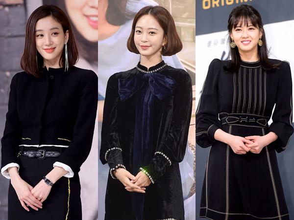 Gaya Classy Serba Hitam Para Aktris Utama di Jumpa Pers Drama Korea Terbaru