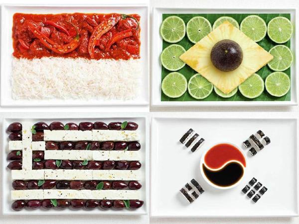 Kreatif, Saat Makanan Khas Setiap Negara Disusun Menjadi Sebuah Bendera