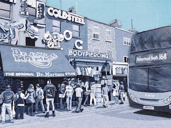 Suguhkan Gaya Urban yang Tampak Nyata, Lukisan Ini Ternyata Terbuat dari Kain Jeans!