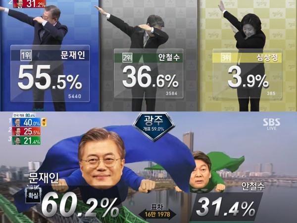 Kocak nan Kreatif, Stasiun Televisi Korea Ubah Gaya 'Kaku' Grafik Pemilu Jadi Parodi Kekinian