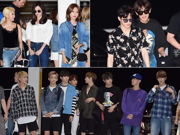 Para Artis SM Entertainment Terlihat di Bandara Incheon untuk Terbang Liburan ke Hawaii