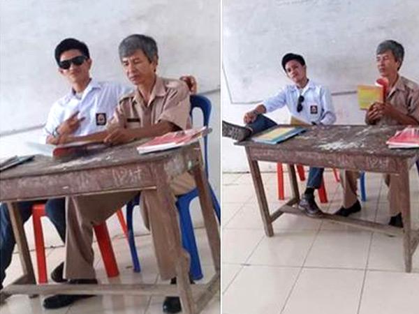 Foto Siswa SMA Merokok dan Angkat Kaki di Samping Guru Jadi Viral, Ini Hukuman Buat Si Pelakunya