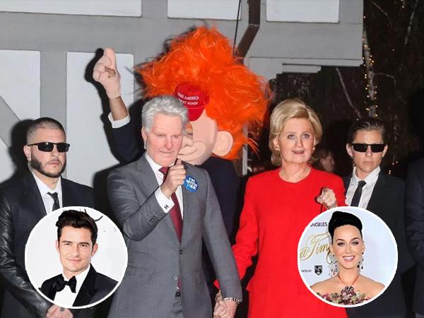 Rayakan Halloween, Katy Perry-Orlando Bloom Jadi Hillary Clinton dan Donald Trump!