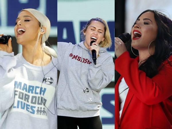 Ariana Grande, Miley Cyrus dan Demi Lovato Sumbang Suara Untuk Gerakan Protes Penembakan Masal