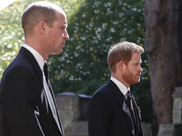Momen Pangeran Harry dan Pangeran William Akur di Pemakaman Pangeran Philip