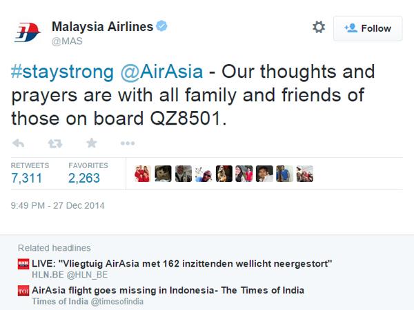 Ini Ungkapan Maskapai Malaysia Airlines untuk AirAsia QZ8501