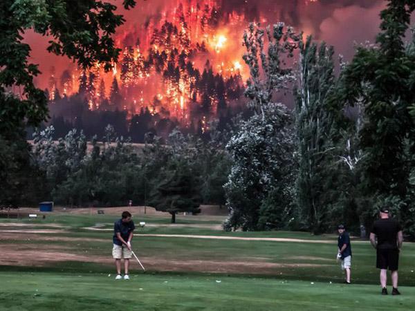 Viral Sekelompok Orang Bermain Golf di Samping Hutan yang Terbakar Hebat