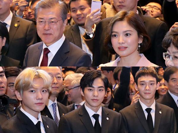 Foto Song Hye Kyo & EXO CBX Dampingi Presiden Korsel Hadiri Acara Kenegaraan di Tiongkok