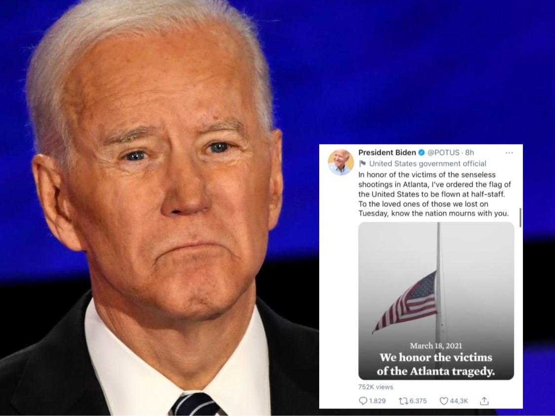 Joe Biden Tetapkan 5 Hari Berkabung Atas Tragedi Atlanta, AS Kibarkan Bendera Setengah Tiang