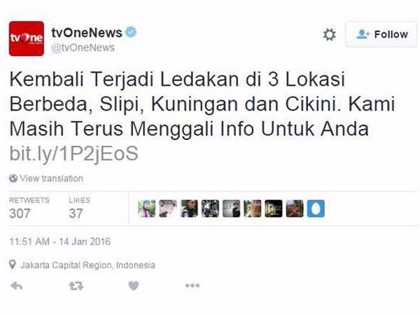 Sebar Berita Hoax Soal Bom Sarinah Hingga Dikutip Media Asing, TV One Dibully Netizen