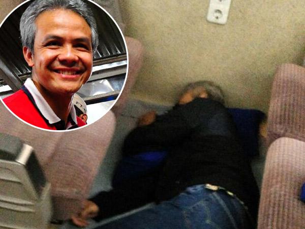 Tidur Pulas di Lantai Kereta, Foto Gubernur Jawa Tengah Jadi Perbincangan di Media Sosial