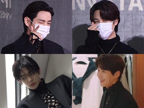 Pesona Seksi V-Jimin BTS, Kim Seon Ho, dan Yeonjun TXT Pakai Turtleneck Jaring Valentino