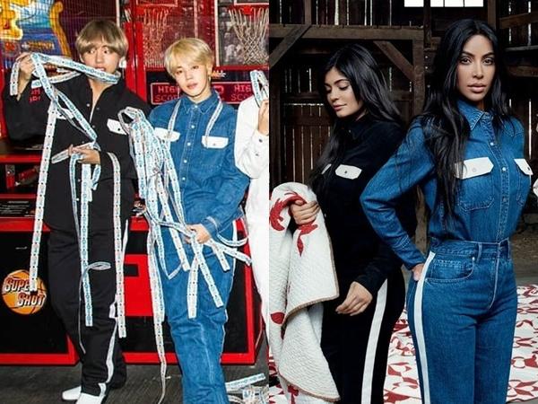 Outfit Denim Kembar V-Jimin BTS vs Kardashian's Sister, Who Wore It Better?
